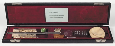 'Gift Box for Jerold Ordover: Spell Your Name with These Objects,' ca. 1970, assorted objects in leatherette and velvet-lined box, by George Maciunas.